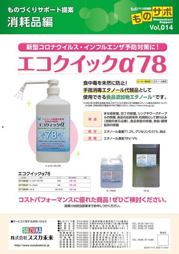エコクイックα78_新型コロナウイルス・インフルエンザ予防対策に!
